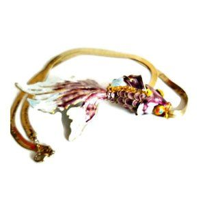 Vintage Enamel Articulated Koi Fish Necklace